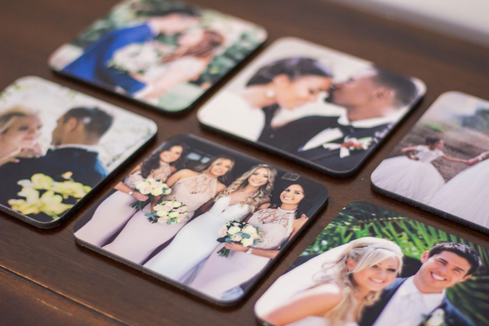 Custom Coasters with Bridal Photography