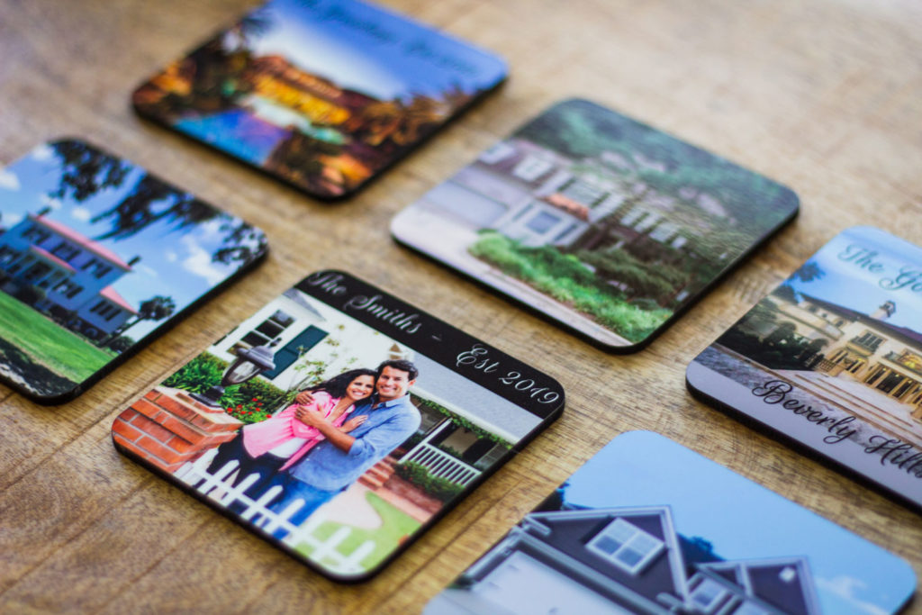 Custom Coasters with photo of homes and new homeowners